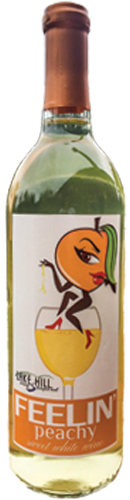 New bottle of Feelin' Peachy wine from Lake Hill Winery
