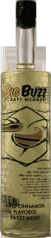 Bottle of Big Buzz Craft Meadery Apple Cinnamon flavored Sweet Mead